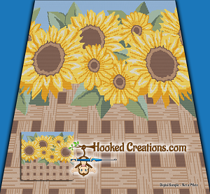 Sunflower Fence Mini C2C (Modified Corner to Corner) King Blanket Graphghan Crochet Pattern - PDF Download