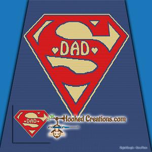 Super Dad SC (Single Crochet) Throw Size Blanket Graphghan Crochet Pattern - PDF Download