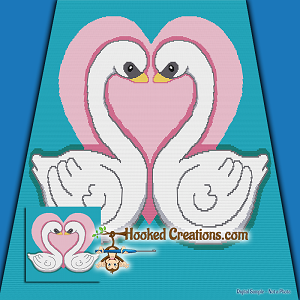 Swan Love SC (Single Crochet) Throw Blanket Graphghan Crochet Pattern - PDF Download
