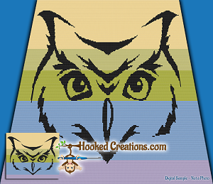 Tribal Owl TSS (Tunisian Simple Stitch) - Right Handed Throw Sized Blanket Graphghan Crochet Pattern