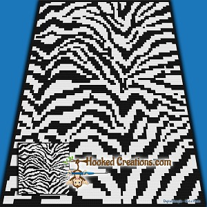 Zebra SC (Single Crochet) Throw Blanket Graphghan Crochet Pattern - PDF Download