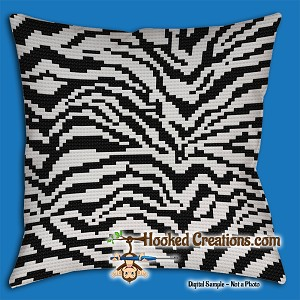 Zebra SC (Single Crochet) Throw Pillow Graphghan Crochet Pattern - PDF Download