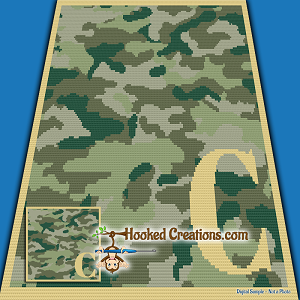 Camouflage Alphabet - C SC (Single Crochet) Baby Blanket Graphghan Crochet Pattern - PDF Download
