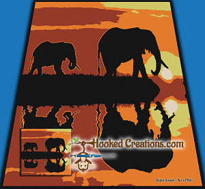 Elephant Sunrise TSS (Tunisian Simple Stitch) Left Handed King Blanket Graphghan Crochet Pattern - PDF Download